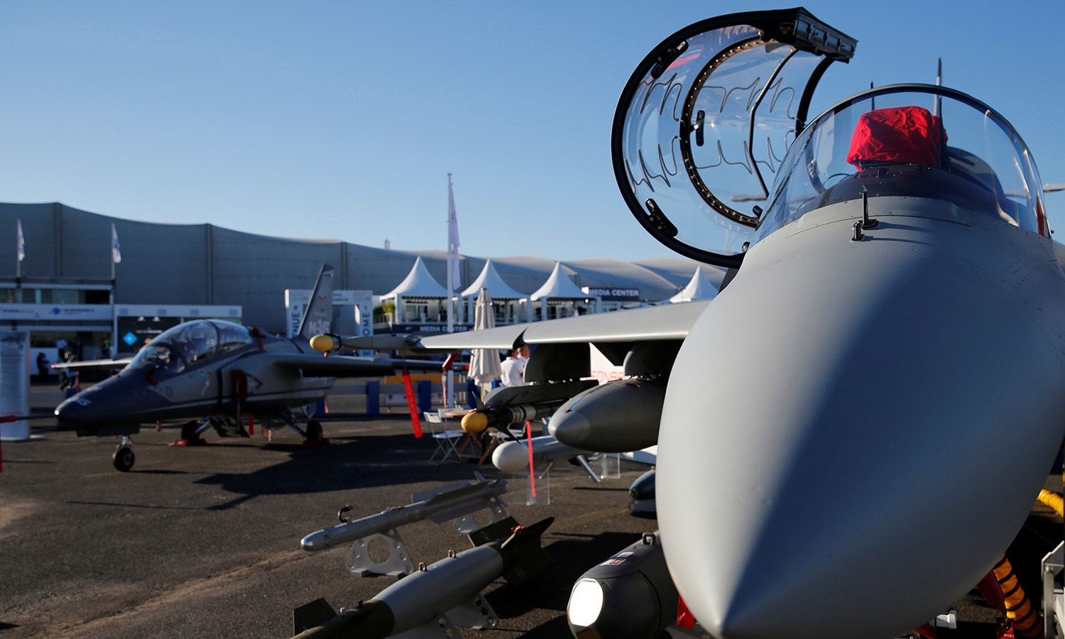 A Leonardo M-346FA fighter attack aircraft is seen on static display. ─ Reuters