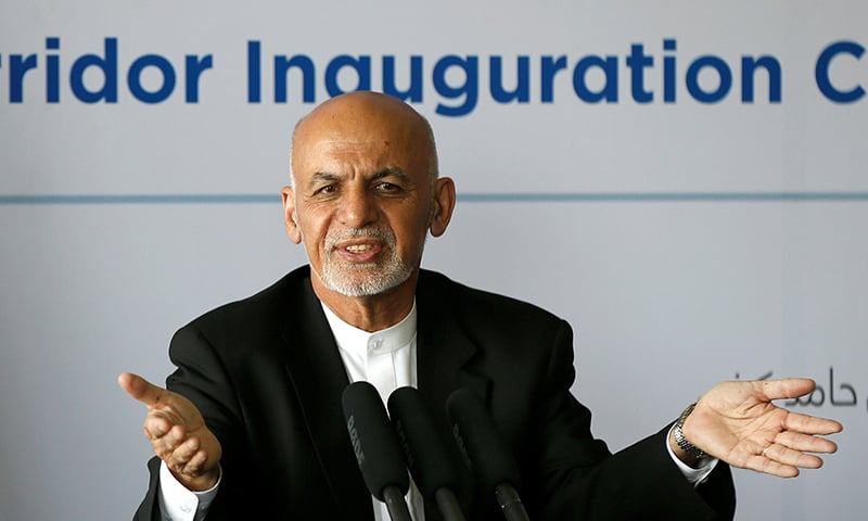 Afghanistan President Ashraf Ghani speaks during an inauguration of Afghanistan-India Air corridor ceremony in Kabul. ─ Reuters