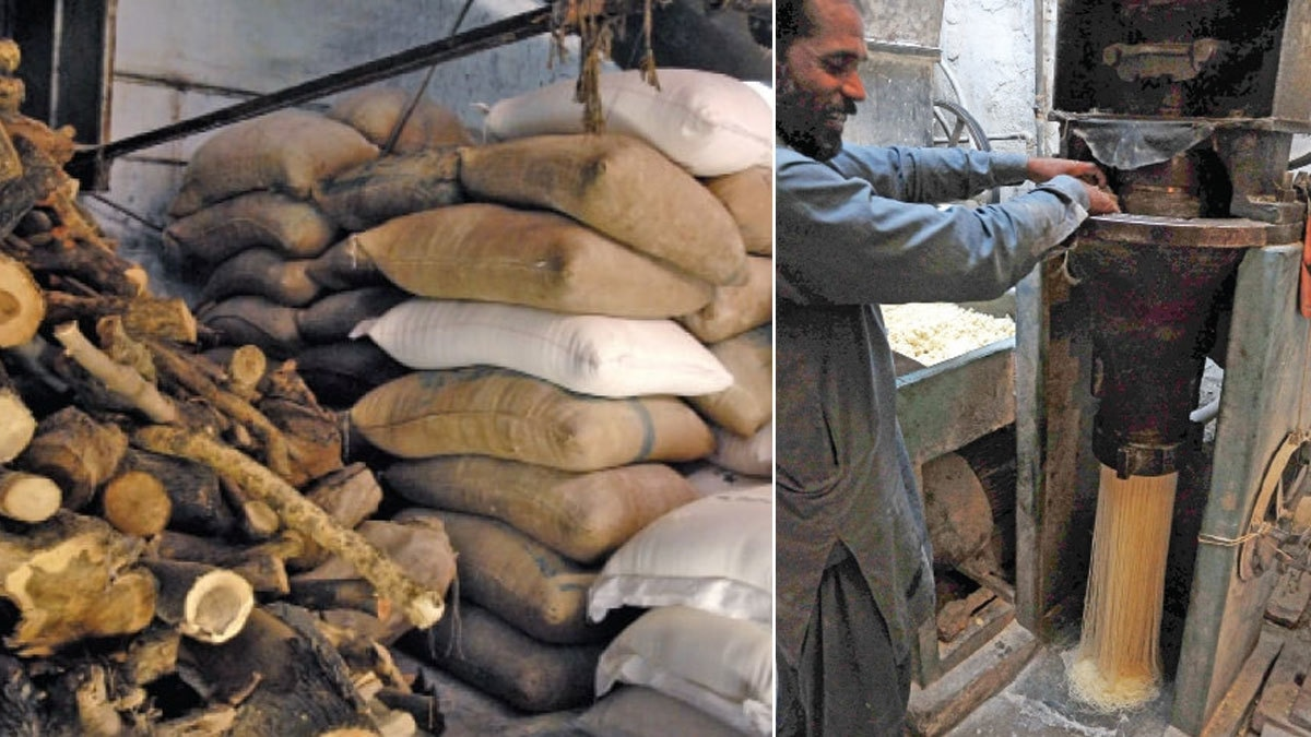 Left: Wood, semolina and fine wheat flour, used to make vermicelli, are stored. Right: A worker puts the dough through a machine to make the noodles.