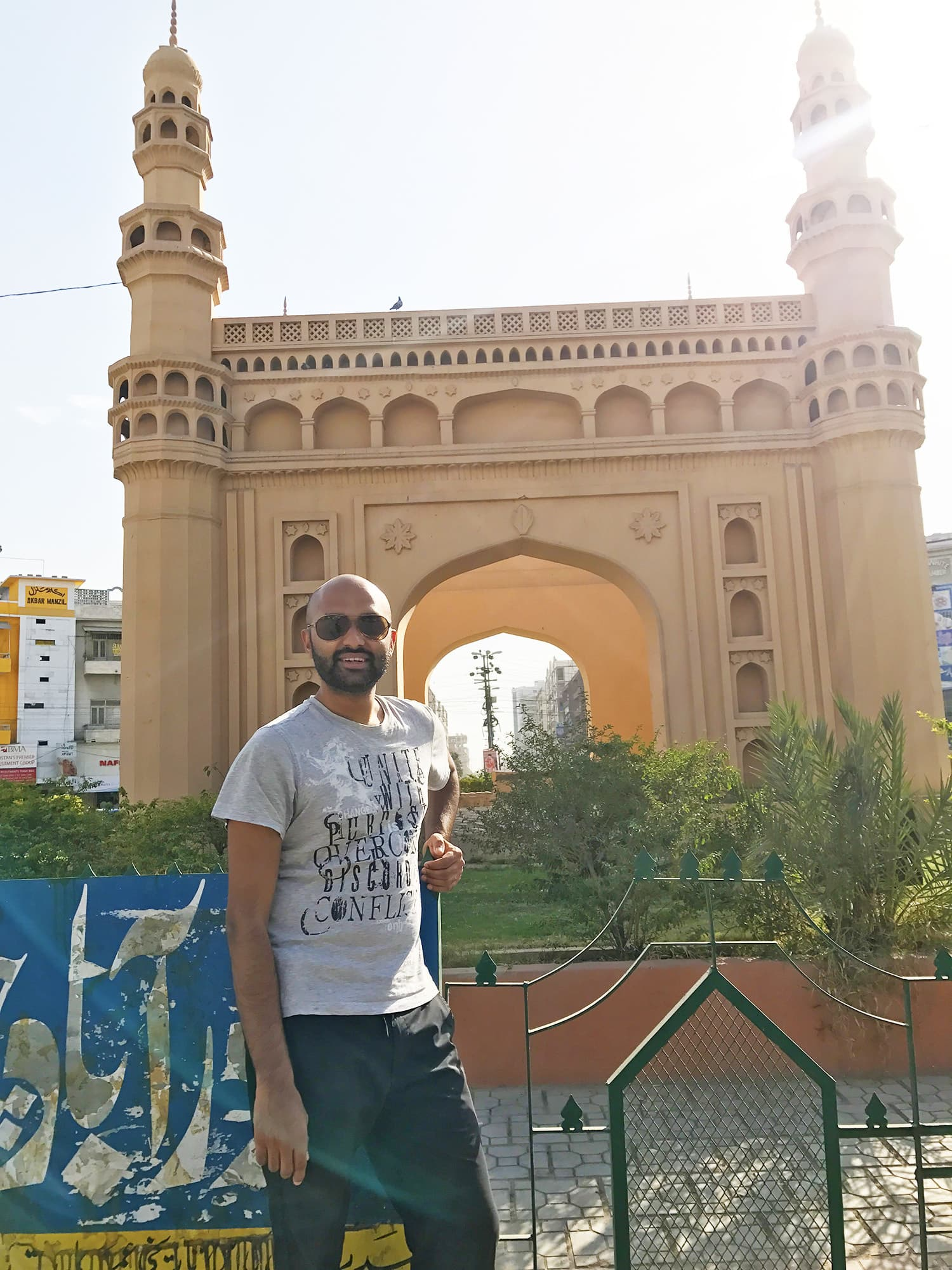 At the famous Char Minar Chowrangi roundabout in Bahadurabad.