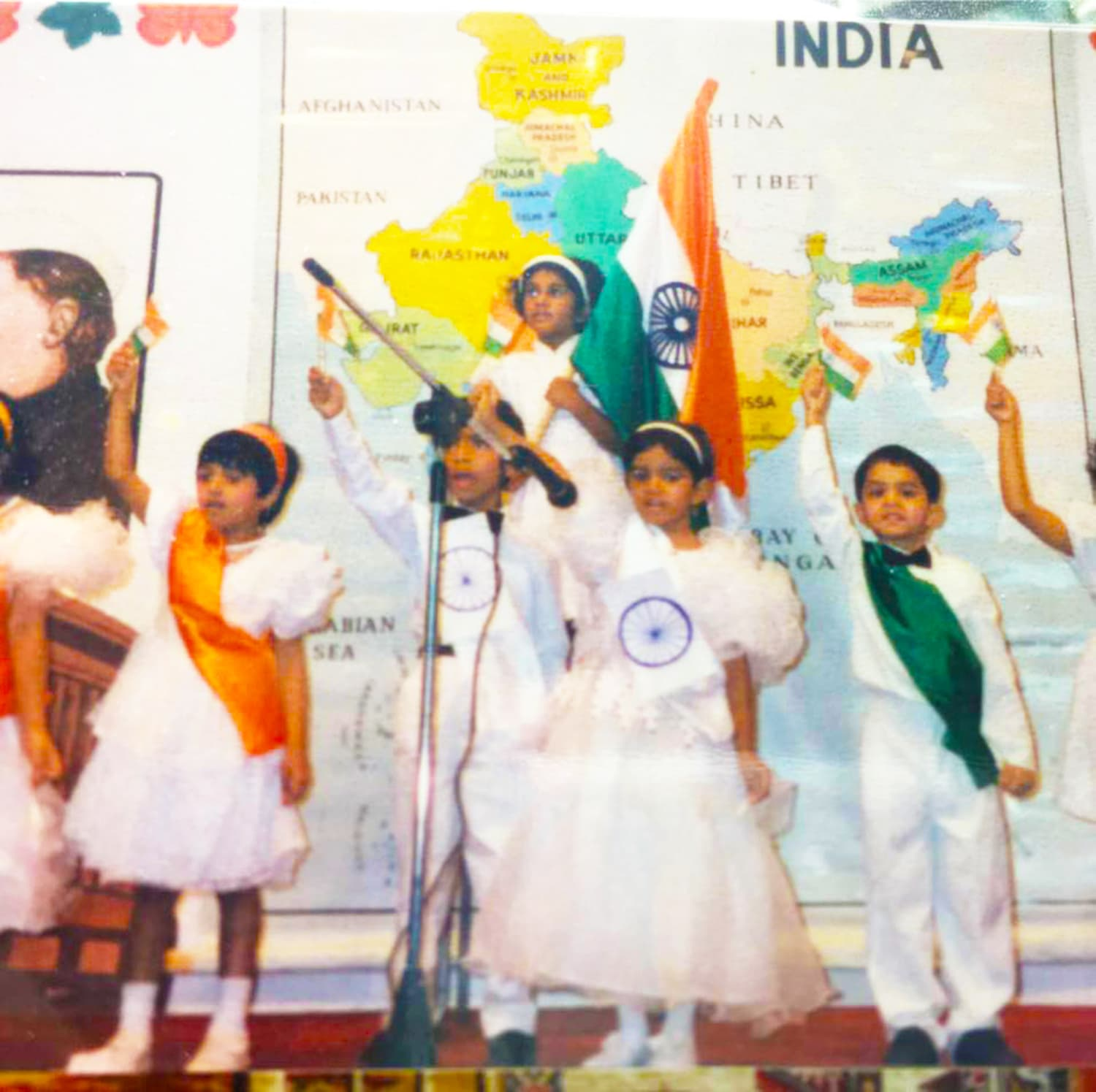 Me at the far right as a four-year-old, singing the Indian National Anthem at the Indian Embassy School in Jeddah, Saudi Arabia.