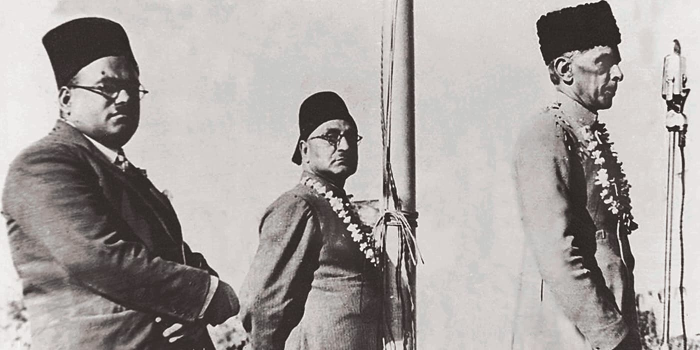 The Quaid-i-Azam with Nawab Shahnawaz Khan Mamdot and A.K. Fazlul Huq at Lahore's Minto Park. — Courtesy National Archive Islamabad
