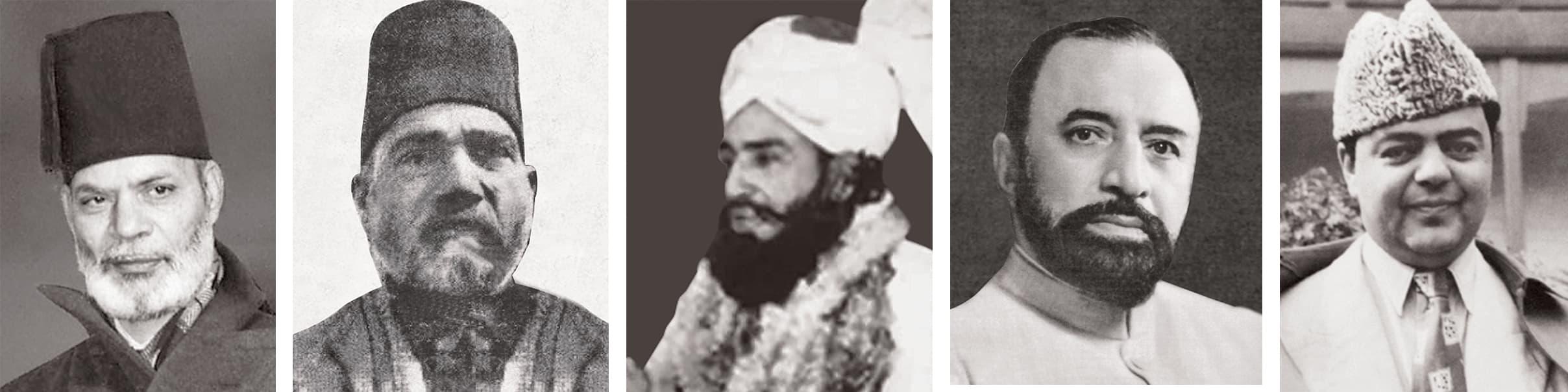 Sir Zafarullah Khan, Maulana Zafar Ali Khan, Maulana Abdul Ghafoor Hazarvi, Haji Abdullah Haroon and Qazi Isa. — Dawn/White Star Archives & Seafield Archives