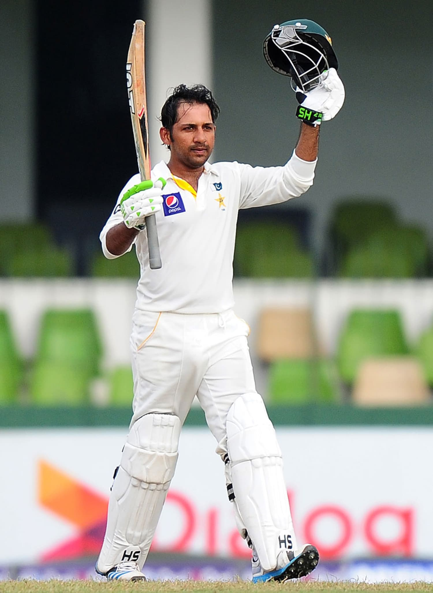 Sarfraz's fighting 50 in his comeback Test against Sri Lanka. — Photo: Indian Express.