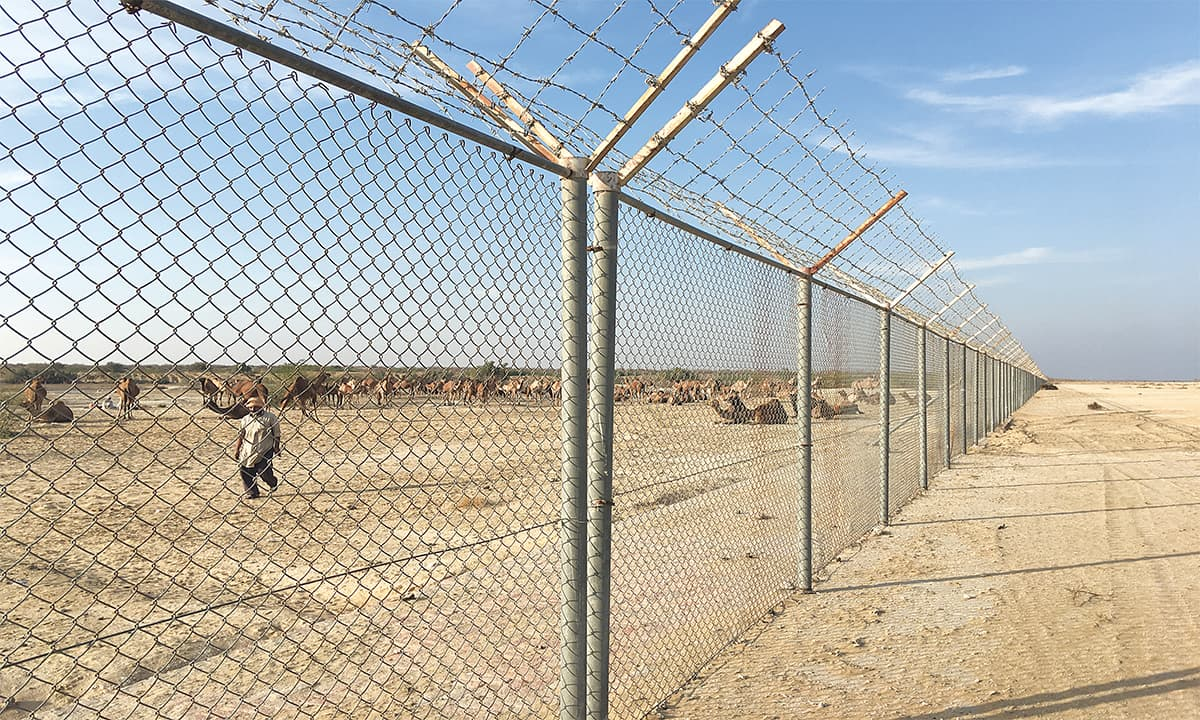 The boundary fence of Abu Dhabi's Al-Habieb airport in Cholistan desert | Subuk Hasnain