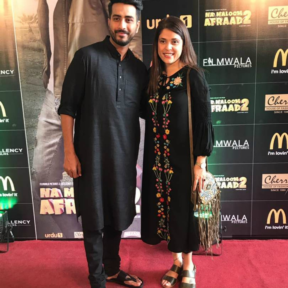 Director Nabeel Qureshi and producer Fizza Ali Meerza at the Na Maloom Afraad trailer launch in Karachi