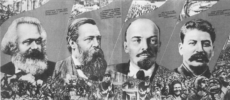 """Under the Banner of Marx, Engels, Lenin and Stalin!"" Cult of personality poster designed for the 50th anniversary (in 1933) of Karl Marx's death to equate Stalin with the greatest proponents of Marxism"