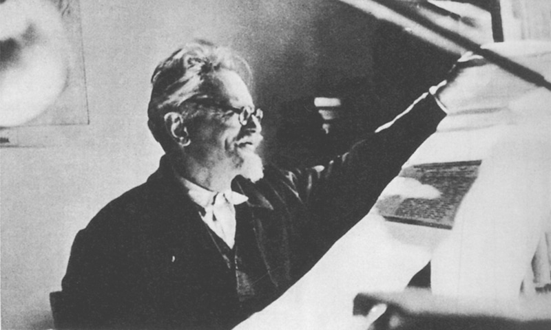 Leon Trotsky in his study, examining proofs of his unfinished biography of Stalin. After a failed struggle against the policies of Stalin, he was expelled from the Communist Party and exiled from the Soviet Union. Trotsky died on Aug 21, 1940, in Mexico, assassinated on Stalin's orders