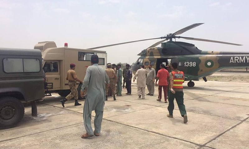 Army helicopters used to transfer injured to hospitals for treatment.─ISPR
