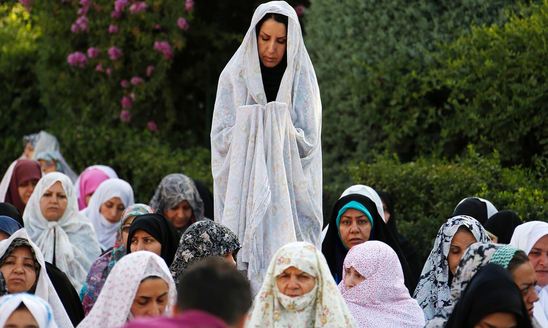 Iranian women offer Eid prayers in western Tehran. ─ AFP