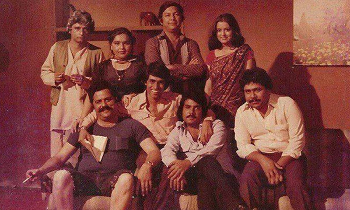 Some members of the core Fifty-Fifty team with Shoaib Mansoor in 1979 | Dawn.com