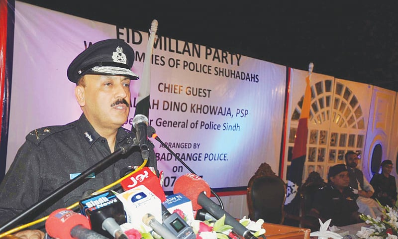 IGP A.D. Khowaja speaks at the Eid Milan party in Hyderabad.—PPI