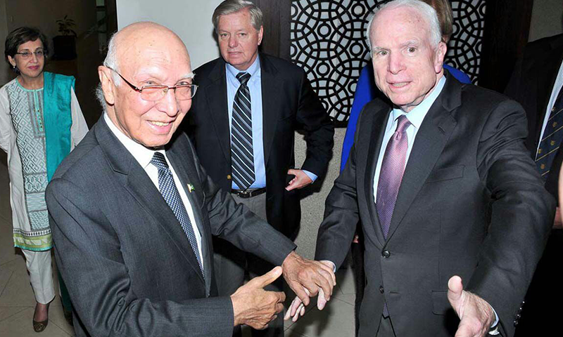 ISLAMABAD: Foreign Affairs Adviser Sartaj Aziz welcomes John McCain, the US Senate Armed Services Committee Chairman, along with his delegation on Sunday. Foreign Secretary Tehmina Janjua is also seen.— APP