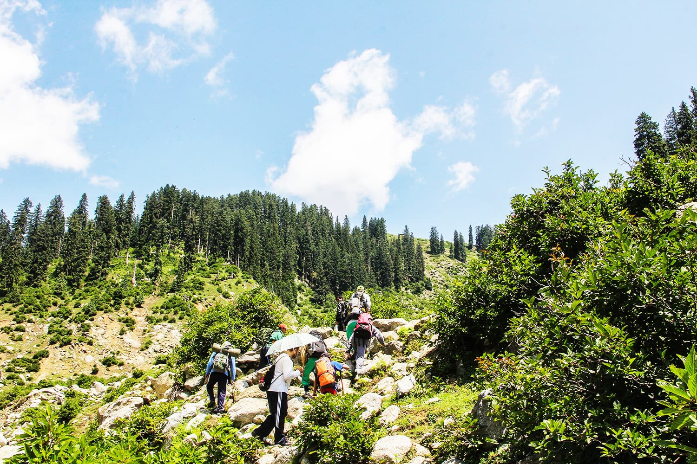 Tourists on the way to Saidgai Lake.—Fazal Khaliq