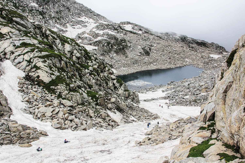 Tourists climb a long glacier between Kangar and Saidgai Lake.—Fazal Khaliq