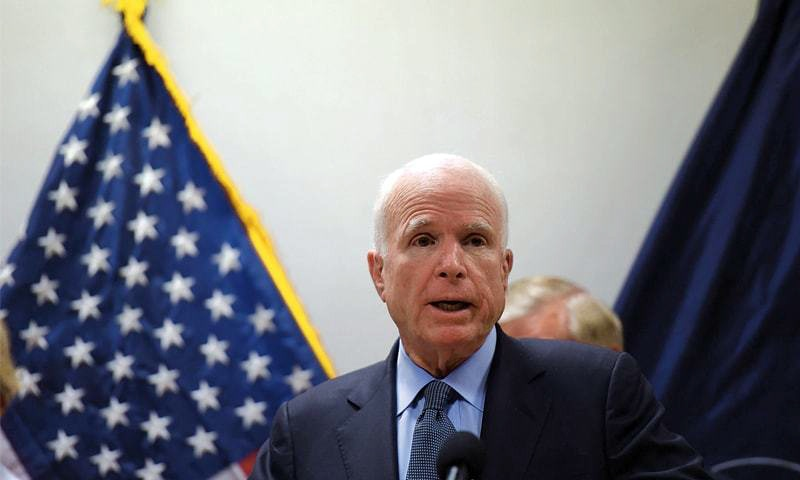 US Senator John McCain addressing a press conference in Kabul on Tuesday.—AFP