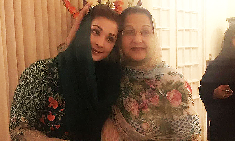Kulsoom Nawaz hugs her daughter Maryam Nawaz before she departs for the JIT secretariat. ─ DawnNews