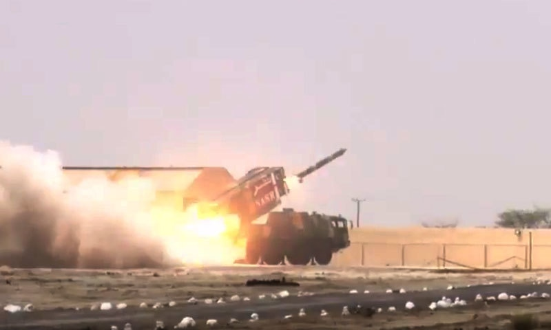 Screengrab from ISPR's video of the Nasr missile's test launch.