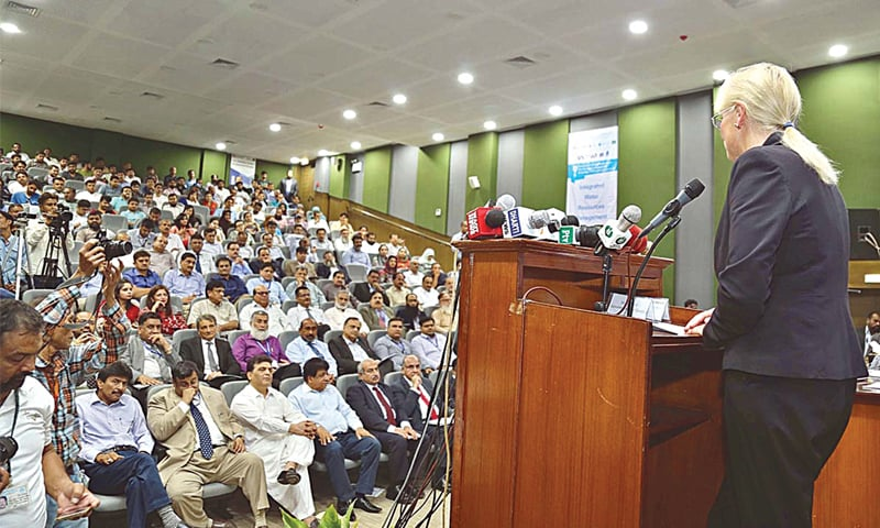 USAID Pakistan Mission Deputy Director Denise Herbol speaks at the inauguration ceremony of the Centre for Advanced Studies in Water at the MUET in Jamshoro on Thursday.—APP