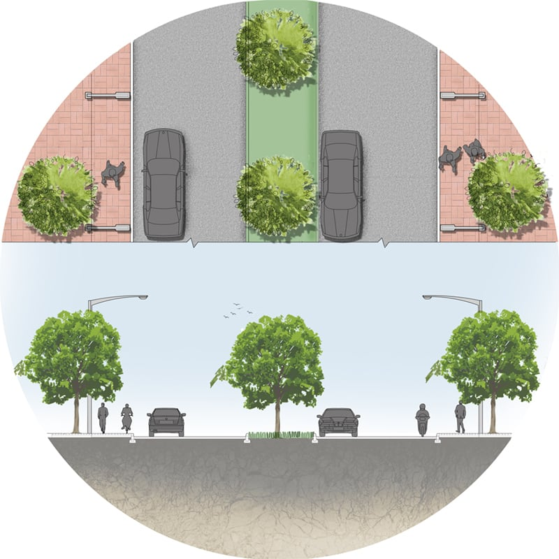 The design strategy for even a street should include trees, along with street furniture and shaded canopies. Moreover changing the colour of the concrete cover in the city to one that does not absorb radiate heat.