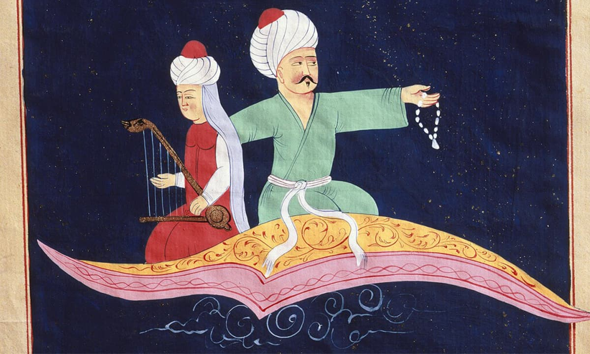Flying over Istanbul on the magic carpet from the 1001 Nights, Turkish miniature, 19th C | Photo Credit: Rex