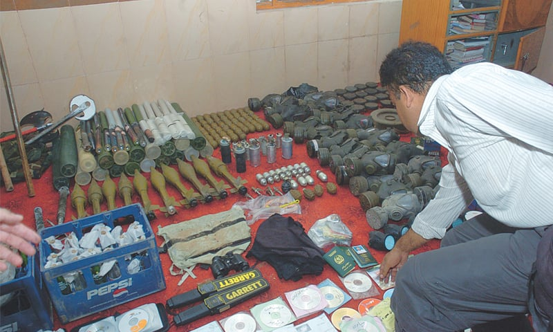 Arms, ammunitions and jihadi literature siezed from the mosque premises