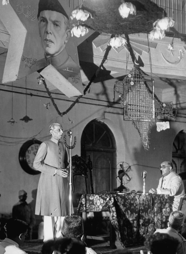 The Quaid-i-Azam, Mohammad Ali Jinnah, is announcing the Muslim League's rejection of the Cabinet Mission Plan at a press conference and calls for a Direct Action Day on Friday, August 16, 1946. Nawabzada Liaquat Ali Khan is seated on the right. —Excerpted with permission from Witness to Life and Freedom, Roli Books, Delhi
