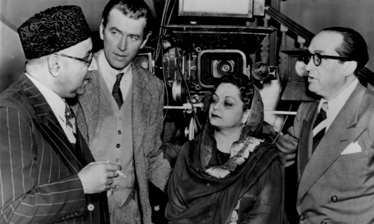 Former Pakistani Prime Minister, Liaquat Ali Khan with Hollywood actor James Stewart and Begum Ra'ana Liaquat in Lahore, 1951 | Photo by Dawn.com