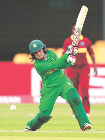 LEICESTER: Pakistan batswoman Javeria Khan Wadood drives during her unbeaten 58.—Reuters