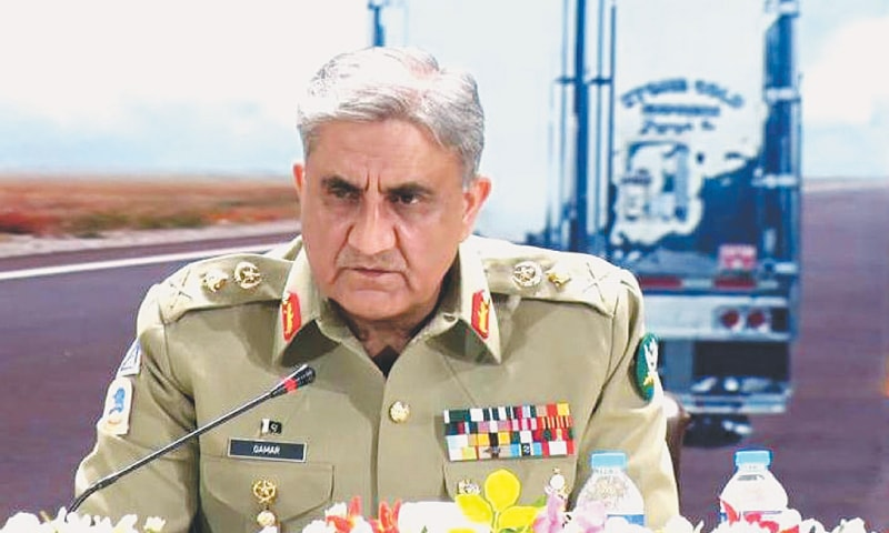 Chief of the Army Staff Gen Qamar Jawed Bajwa addresses the CPEC Logistics International Forum organised by the National Logisitcs Cell in collaboration with other stakeholders on Wednesday.─INP