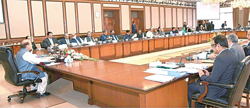 Prime Minister Nawaz Sharif presides over a meeting of the cabinet on Thursday. Criticising the JIT report, the premier said it was a compilation of allegations and assumptions about his family businesses.—INP