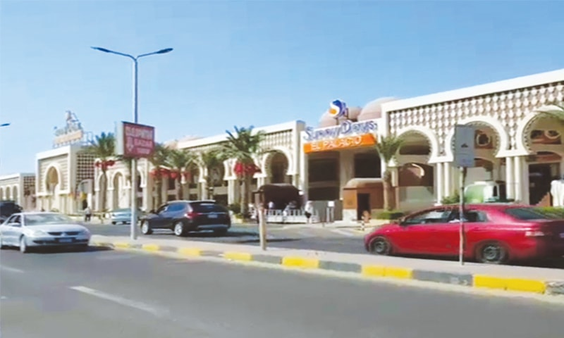 An image grab taken from a TV video shows the road outside a hotel where the stabbing attack took place in the Red Sea Resort of Hurghada  on Friday.—AFP