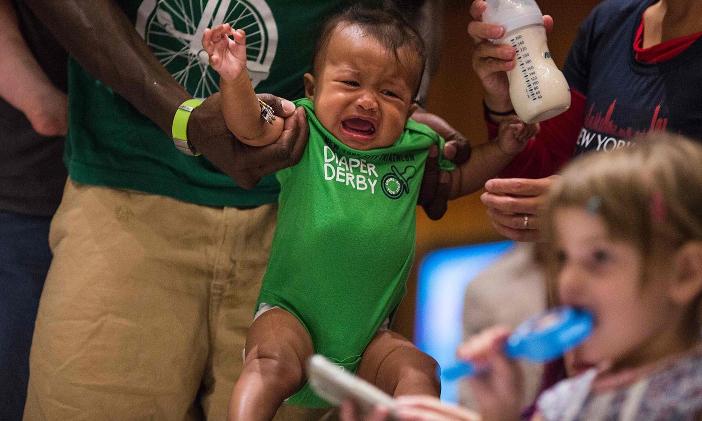 کچھ بچے اس ریس سے خوش ہوئے تو کچھ کے لیے یہ پریشان کن رہی — فوٹو/ اے ایف پی
