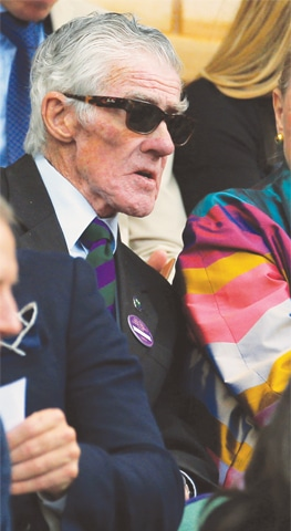 KEN Rosewall is spotted in the stands of the Centre Court at Wimbledon. —Reuters