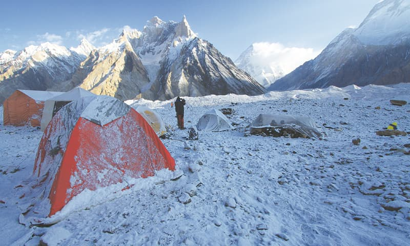Concordia Camp Site under snow with the view of K2 | Photos by Danial Shah