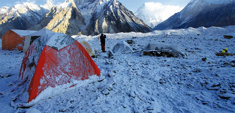 Camping in the snow at the base camp of Nanga Parbat. ─ Photo by Danial Shah
