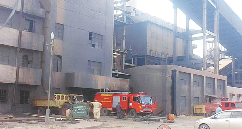 THE Lakhra Coal Power Plant building damaged and blackened by fire on Thursday.—Dawn