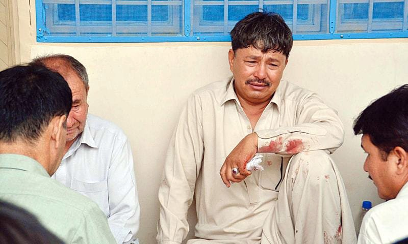 SAFDAR Ali mourns the death of his son in a targeted attack near Mastung on Wednesday.—PPI