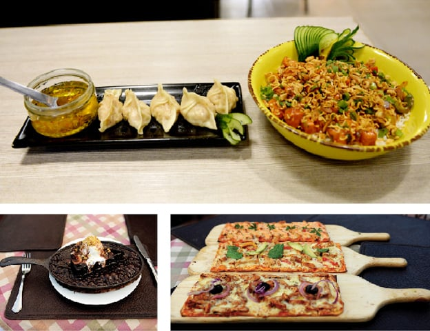 (Clockwise from top) Dim sum and Singapore rice from HOB; Tuscany's signature flatbreads; and the delectable sizzling  chocolate skillet brownie. — Photos by Mohammad Asim