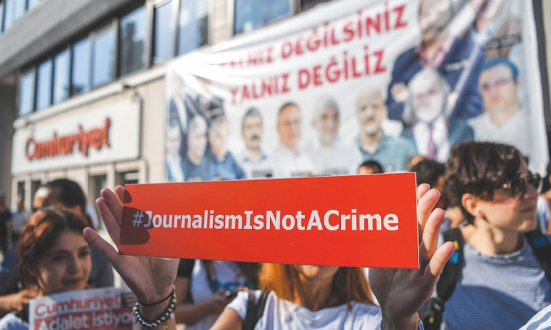 Anti-Erdogan journalists reject 'terror' claims as trial opens in Turkey