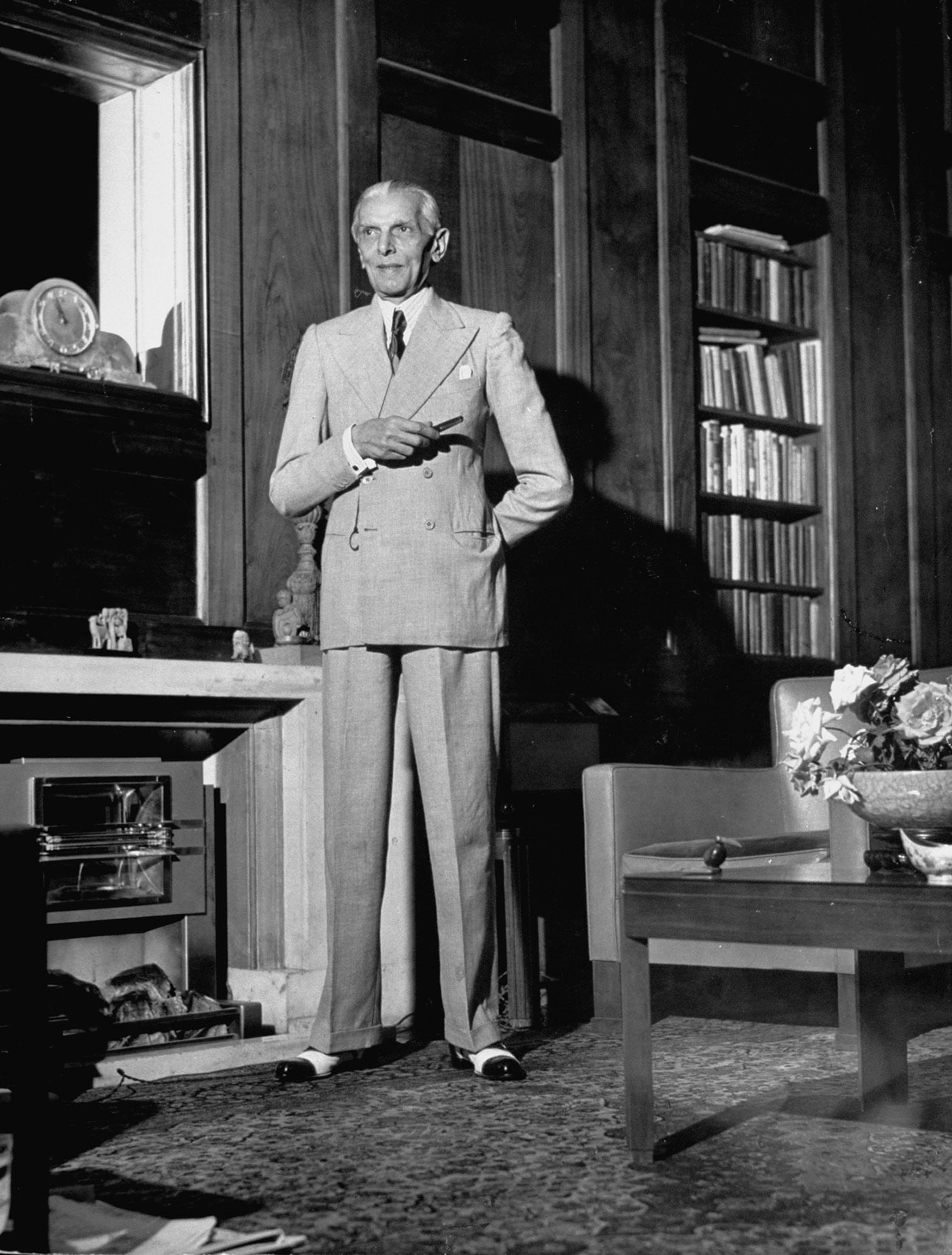 Quaid-i-Azam Mohammad Ali Jinnah stands in the study of his South Court residence on Mount Pleasant Road in Malabar Hills, Bombay's most exclusive residential neighbourhood. — Excerpted with permission from Witness to Life and Freedom, Roli Books, Delhi