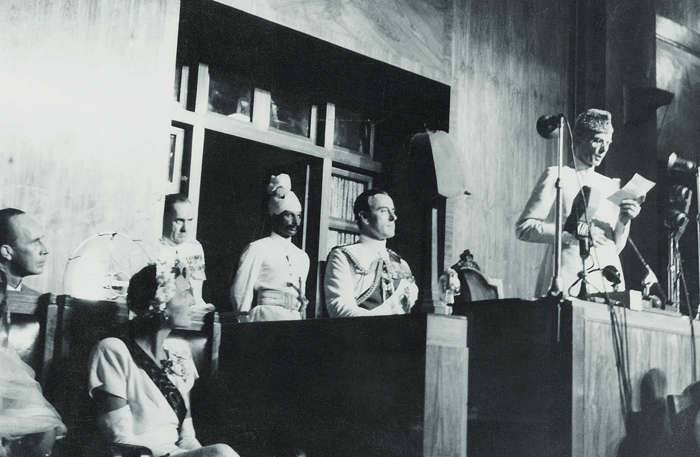 Quaid-i-Azam Mohammad Ali Jinnah delivers his reply to the Viceroy's address at the Constituent Assembly of Pakistan to mark the transfer of power between the British Government and Pakistan and India. — Courtesy National Archives Islamabad