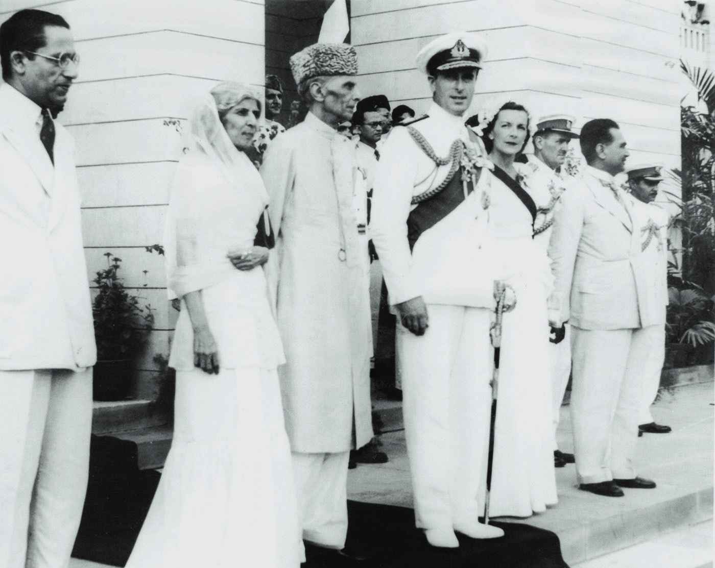 Quaid-i-Azam Mohammad Ali Jinnah, Miss Fatima Jinnah, Lord Louis Mountbatten and Lady Edwina Mountbatten face jubilant crowds as they leave the Constituent Assembly. — Courtesy Directorate of Electronic Media and Publications [DEMP], Ministry of Information Broadcasting & National Heritage, Islamabad