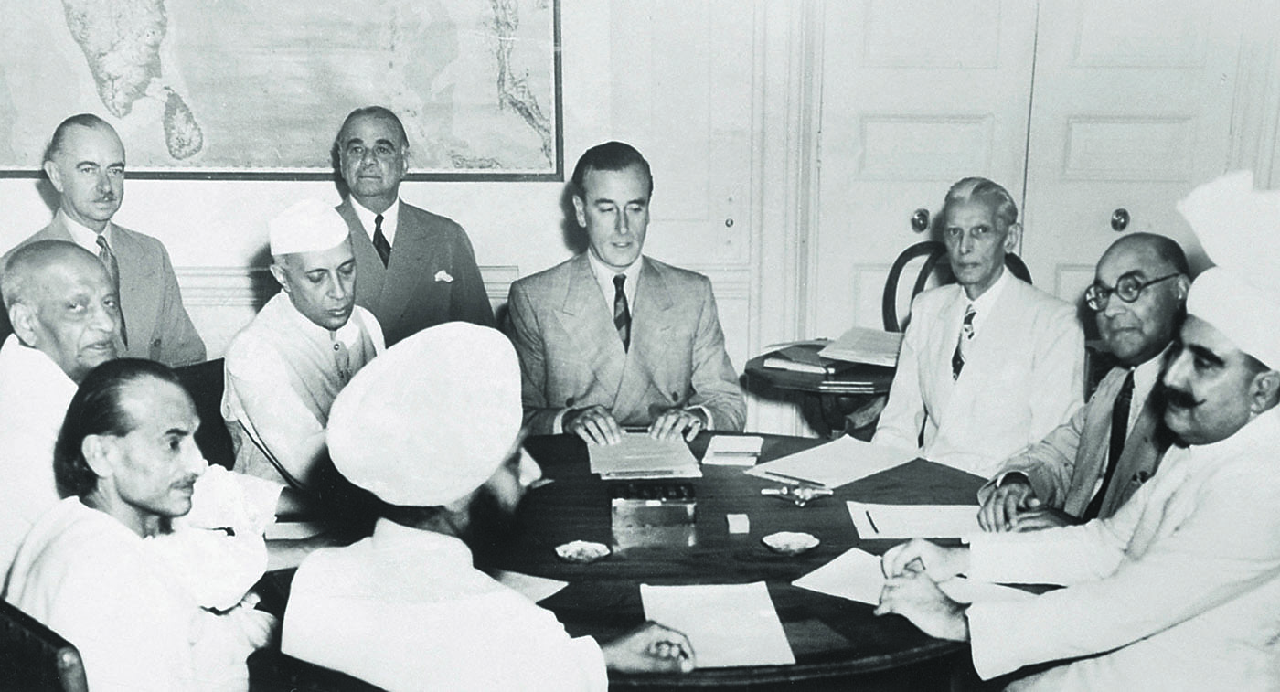 Lord Mountbatten announces the British Government's plan for the Partition of India. — Courtesy National Archives Islamabad