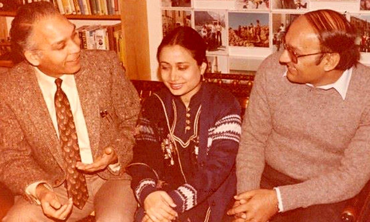 Parveen Shakir with Amjad Islam Amjad along with their host in Canada in 1984 | Amjad Islam Amjad Facebook