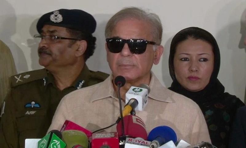 CM Shahbaz speaks to reporters.— DawnNews