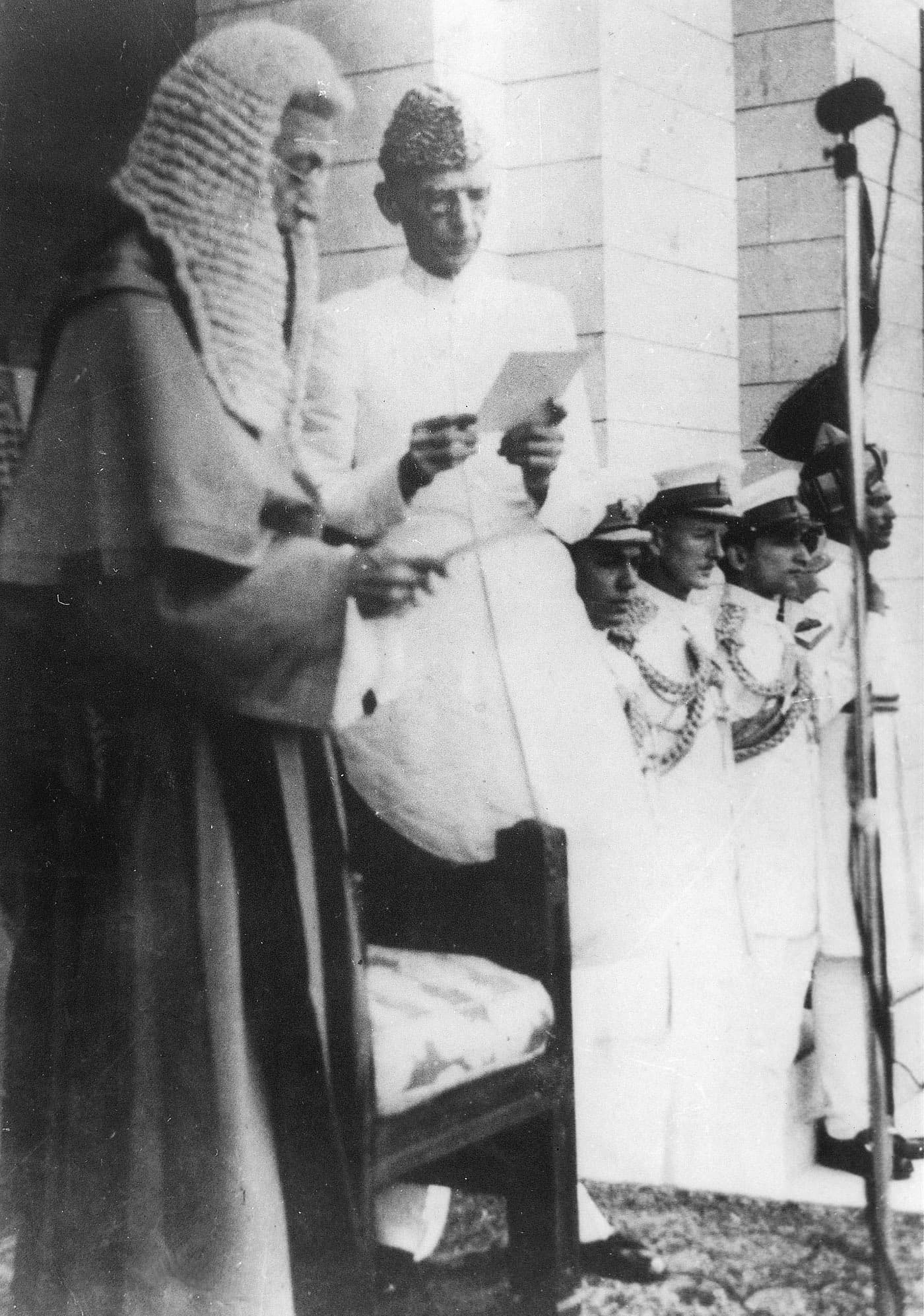 Quaid-i-Azam Mohammad Ali Jinnah is sworn in as the first Governor-General of Pakistan. — Courtesy National Archives Islamabad