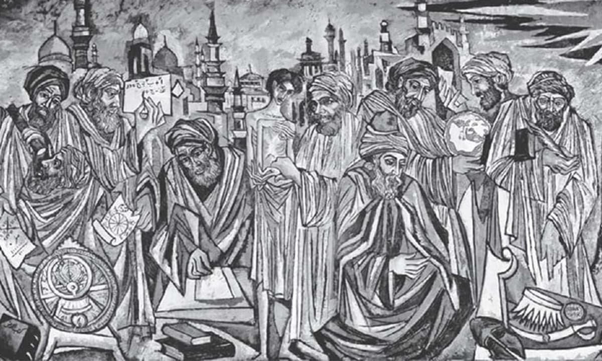 A 1962 mural by Pakistani painter Sadequain, celebrating famous Muslim scientists and philosophers | Courtesy Dawn.com