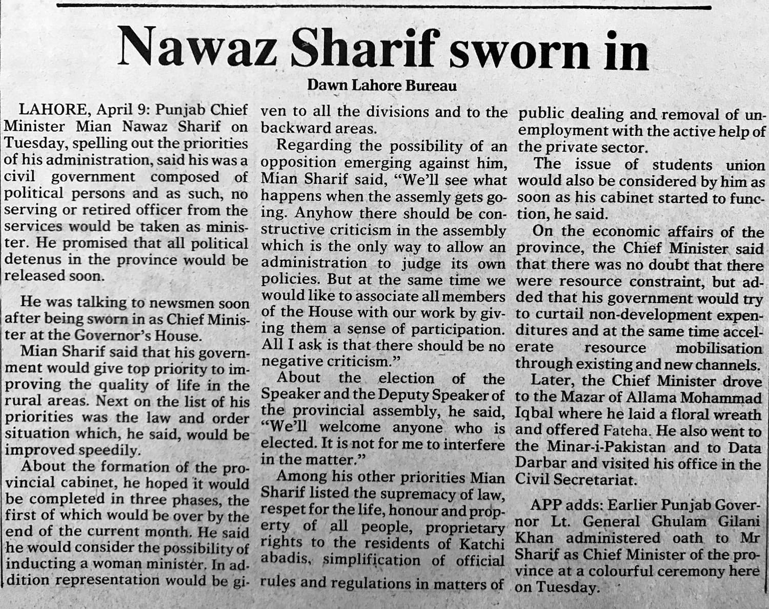 Dawn newspaper: April 9, 1985