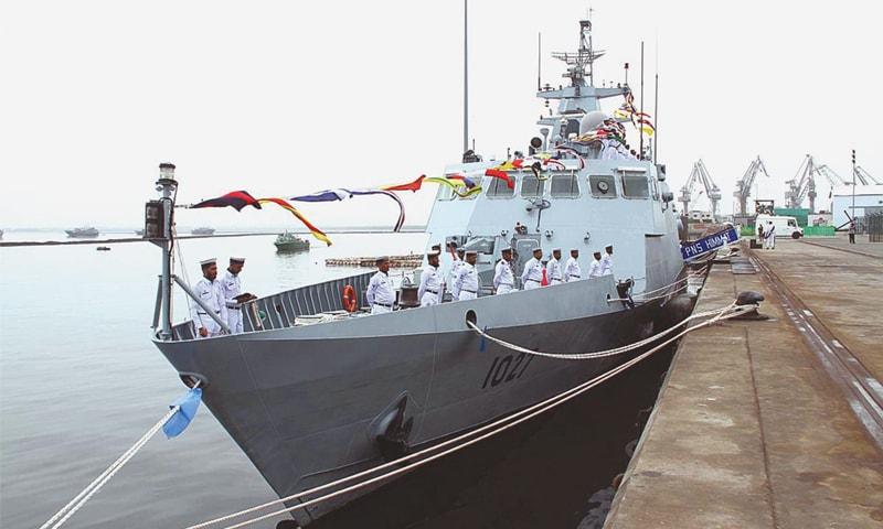 PNS Himmat docked at the Karachi Shipyard on Friday.—APP